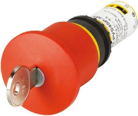 Eaton Panel Mount Mushroom Head Emergency Button - 2NC, Key Reset, 45mm, 22.5mm, Red