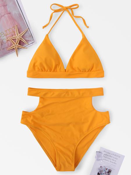 Yoins Self-tie Halter Neck Cut Out Design High Waist Bikini Set in Yellow