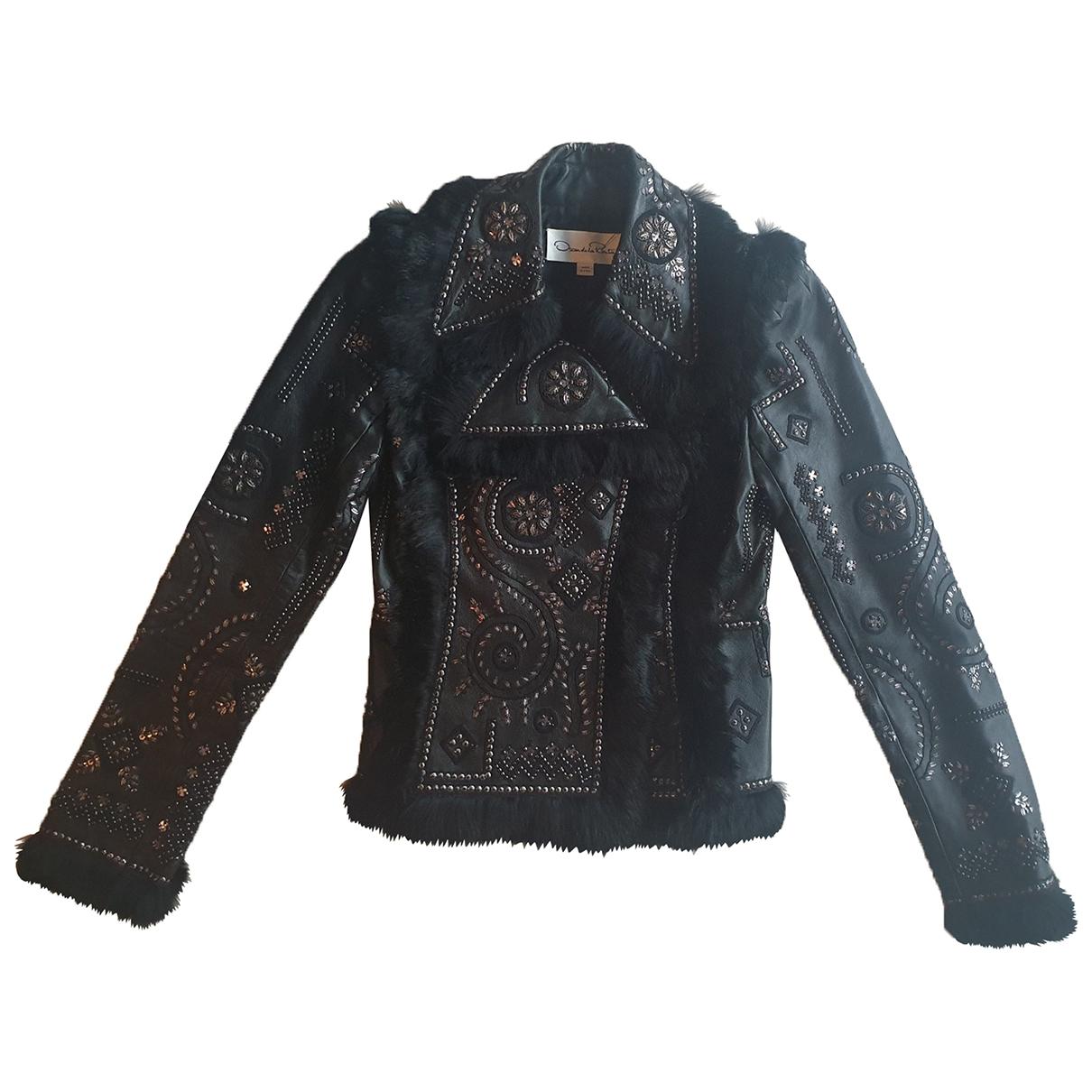 Oscar De La Renta \N Black Leather Leather jacket for Women 2 US