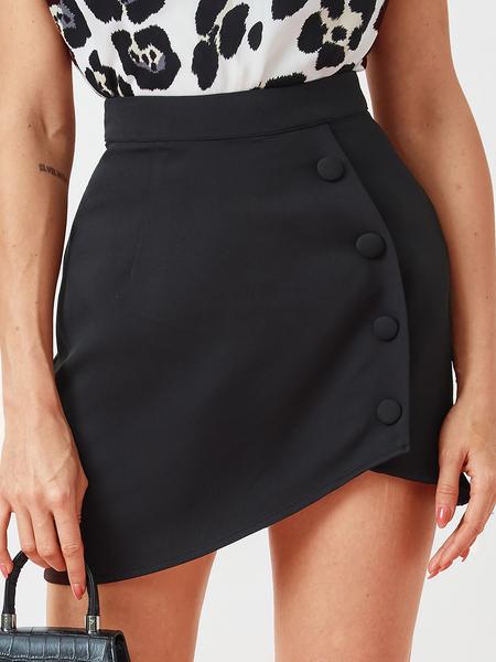 YOINS Black Front Button Asymmetrical Hem Skirt