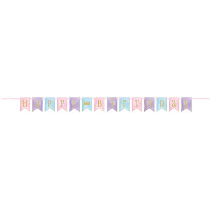 Glitter Magical Princess Birthday Pennant Banner, 7 ft Pour la fête d'anniversaire
