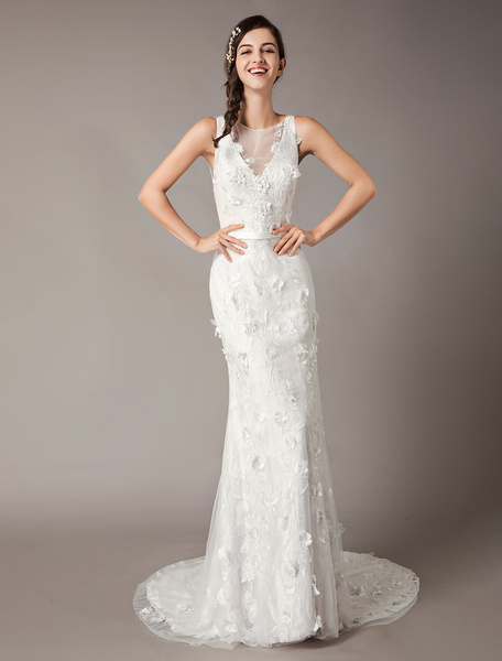 Milanoo Wedding Dresses Flowers Sequin White Sheath Bridal Gown With Train