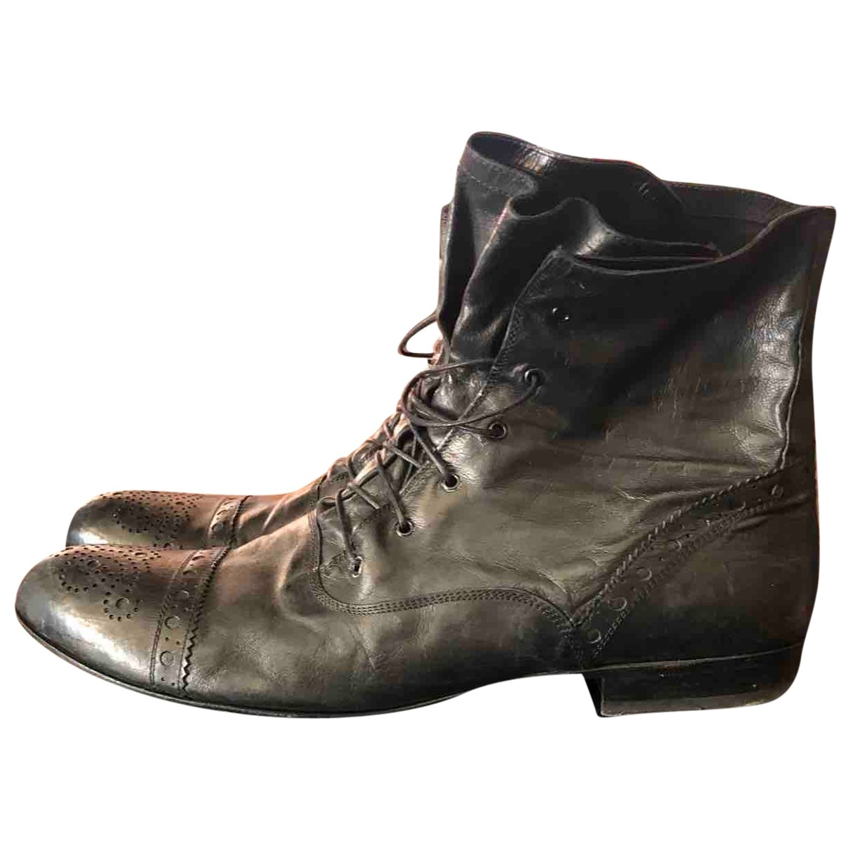 Non Signé / Unsigned \N Black Leather Boots for Men 43.5 EU