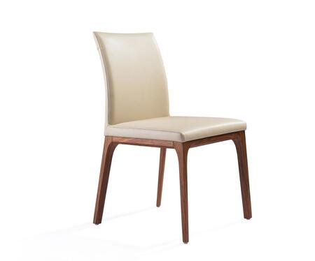 Stella Collection DC1454-WLT/TAU Dining Chair with Tall Backrest  Wood Veneer Material  Solid Wood Construction  Tapered Legs and Faux Leather