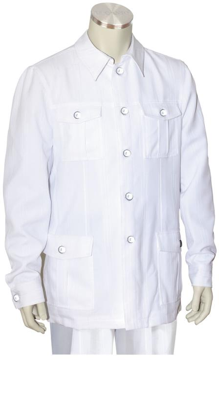 Mens 2 Piece Long Sleeve Walking Suit Casual Urban Style White