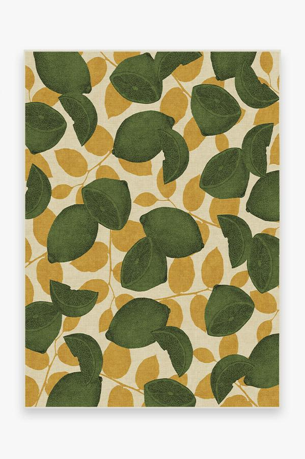 Washable Rug Cover & Pad | Lemonade Lime Rug | Stain-Resistant | Ruggable | 5'x7'