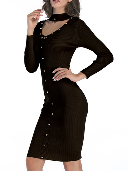 Milanoo Knitted Dress For Women Jewel Neck Long Sleeves Pearls White Bodycon Sheath Dress