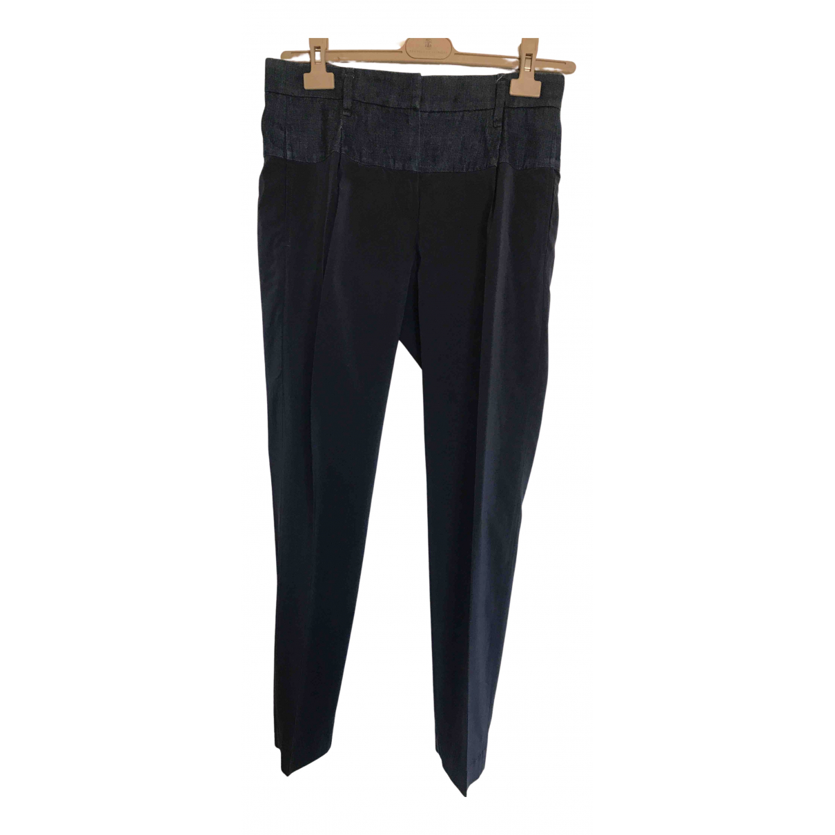 Brunello Cucinelli N Blue Silk Trousers for Women 40 IT