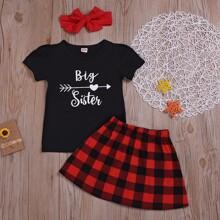 Toddler Girls Letter Graphic Tee & Buffalo Plaid Skirt & Headband