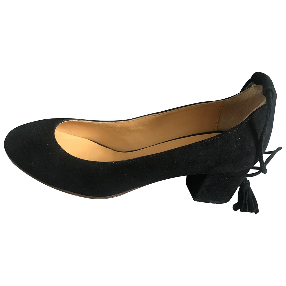 Sezane - Ballerines   pour femme en suede - noir