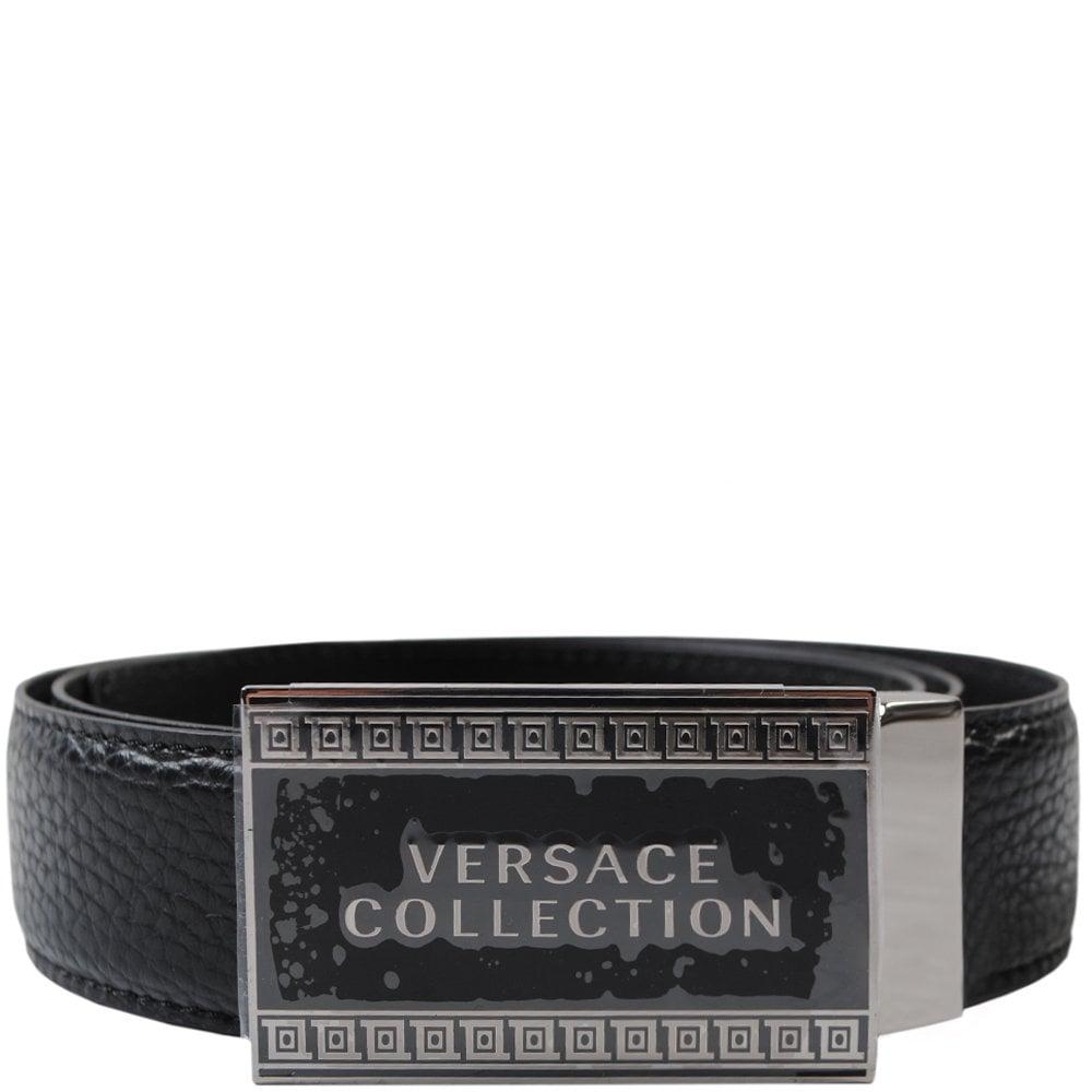 Versace Collection Logo Plaque Belt Colour: BLACK, Size: 30