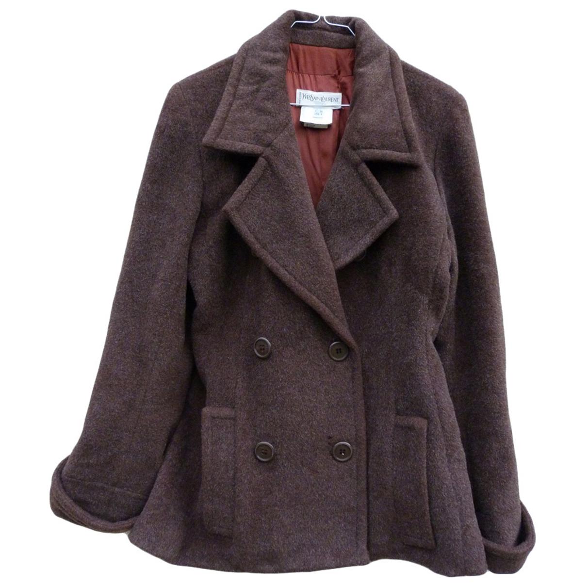 Yves Saint Laurent - Manteau   pour femme en laine - marron
