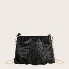 Croc Embossed Ruched Chain Bag