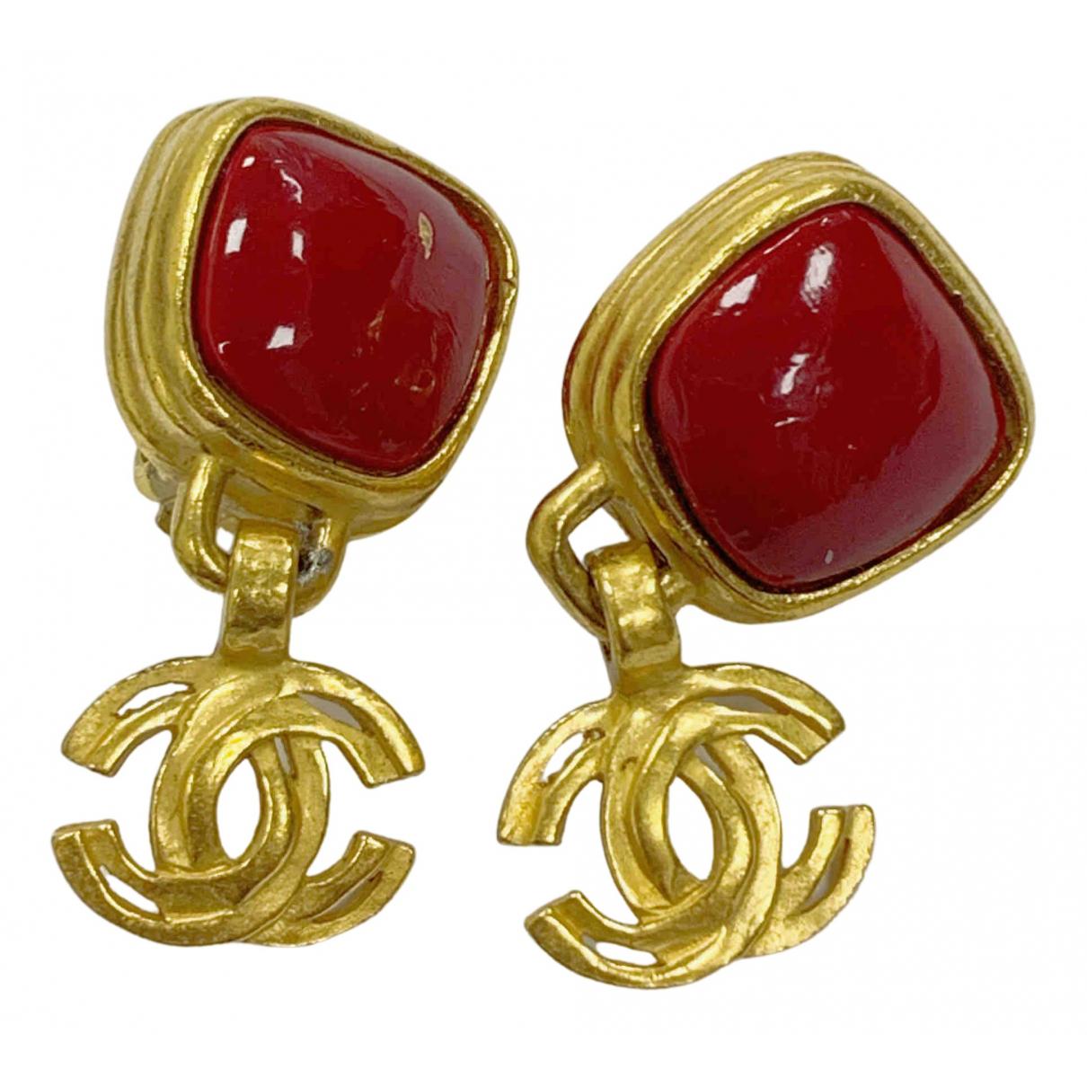 Chanel - Boucles doreilles Gripoix pour femme en plaque or - dore