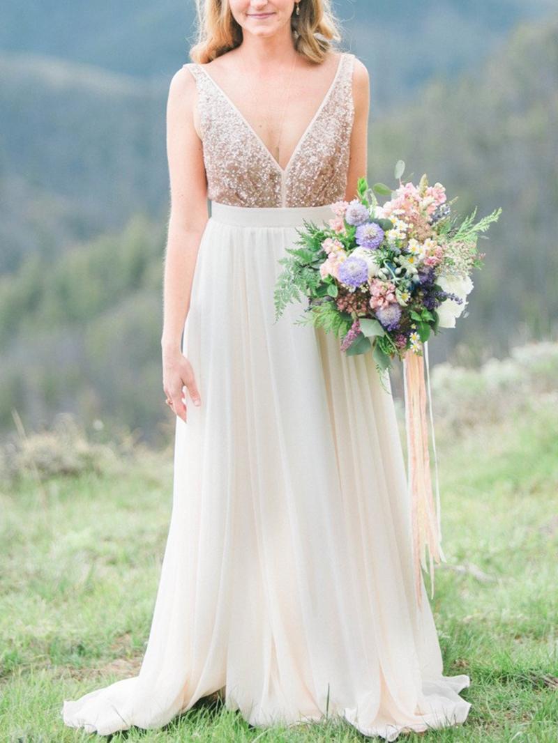 Ericdress A-Line Sequins Beach Wedding Dress