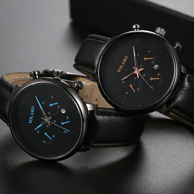 Trendy Sport Women Watch Leather Band Waterproof Calendar Chronograph Quartz Watch