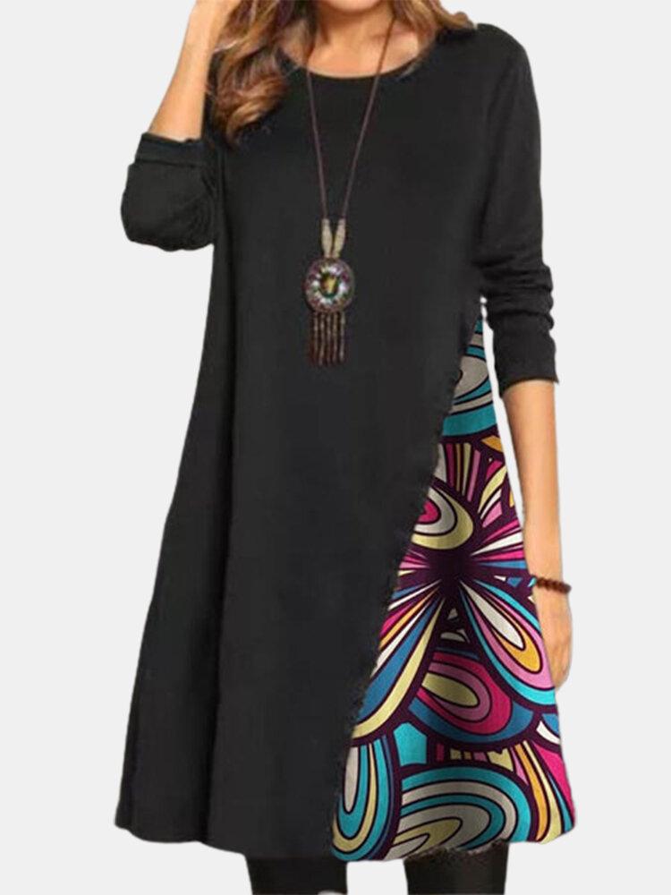 Vintage Print Patchwork O-neck Long Sleeve Midi Dress