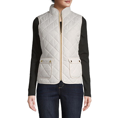 St. John's Bay Quilted Vest, Petite X-small , White