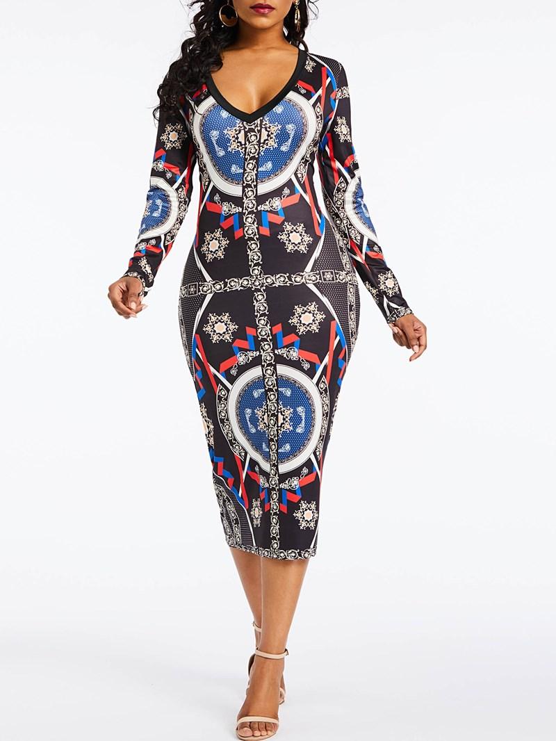 Ericdress Long Sleeve V Neck Print Bodycon Dress