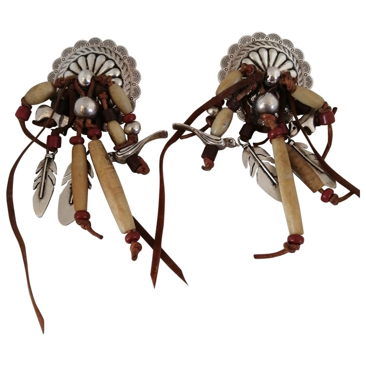 - Boucles doreilles Motifs Ethniques pour femme en plaque argent - multicolore