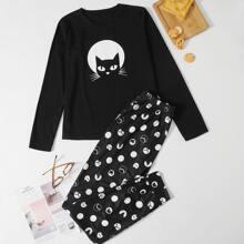 Cat Print Tee & Polka-dot Pants PJ Set