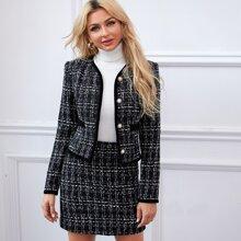 Tweed Jacke mit Knopfen vorn und Plaid Muster & Rock Set