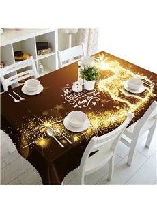 3D Christmas Firework Reindeer Printed Wonderful New Year Scenery Table Cover