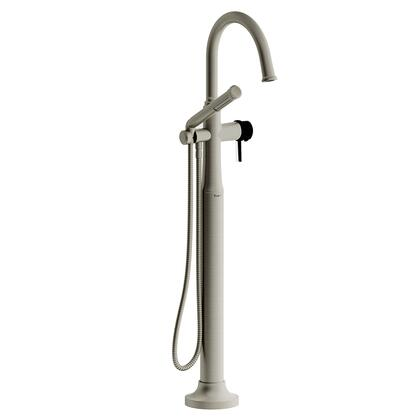 Momenti MMRD39LBNBK-SPEX 2-Way Thermostatic Coaxial Floor Mount Tub Filler with Lever Handles and Hand Shower  in Brushed