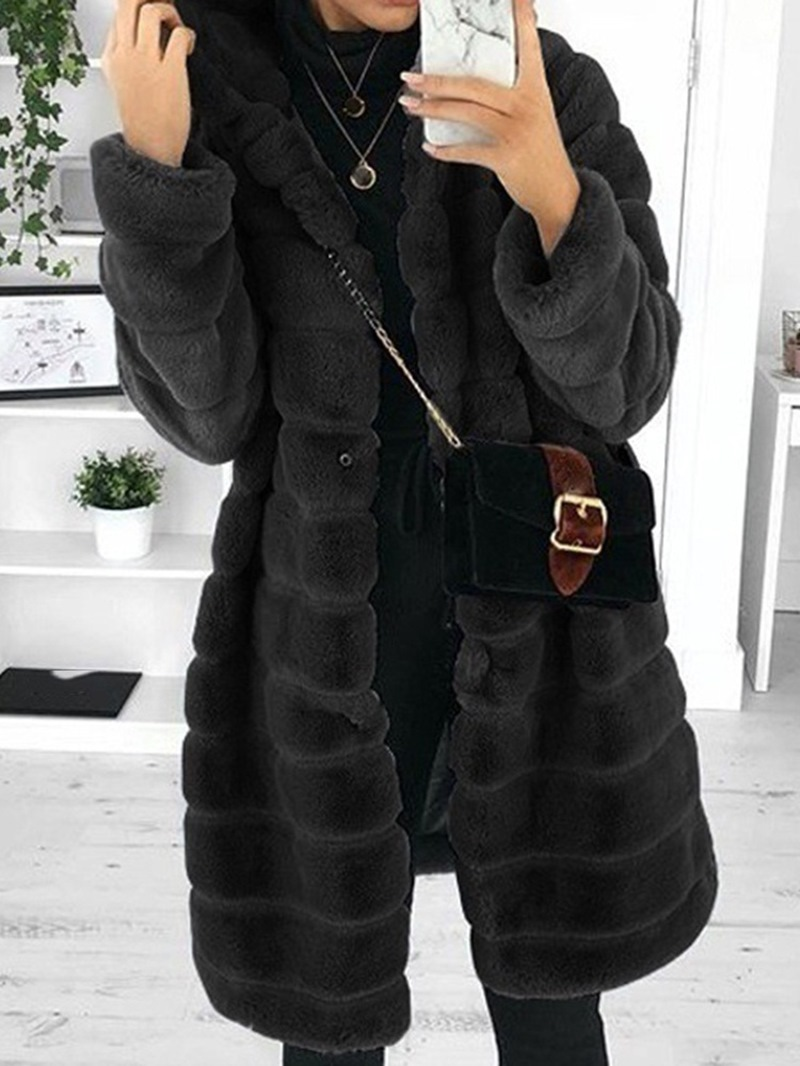 Ericdress Hooded Plain Mid-Length Loose Faux Fur Slim Overcoat
