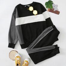 Pullover mit Farbblock & Jogginghose mit Kontrast und seitlicher Naht