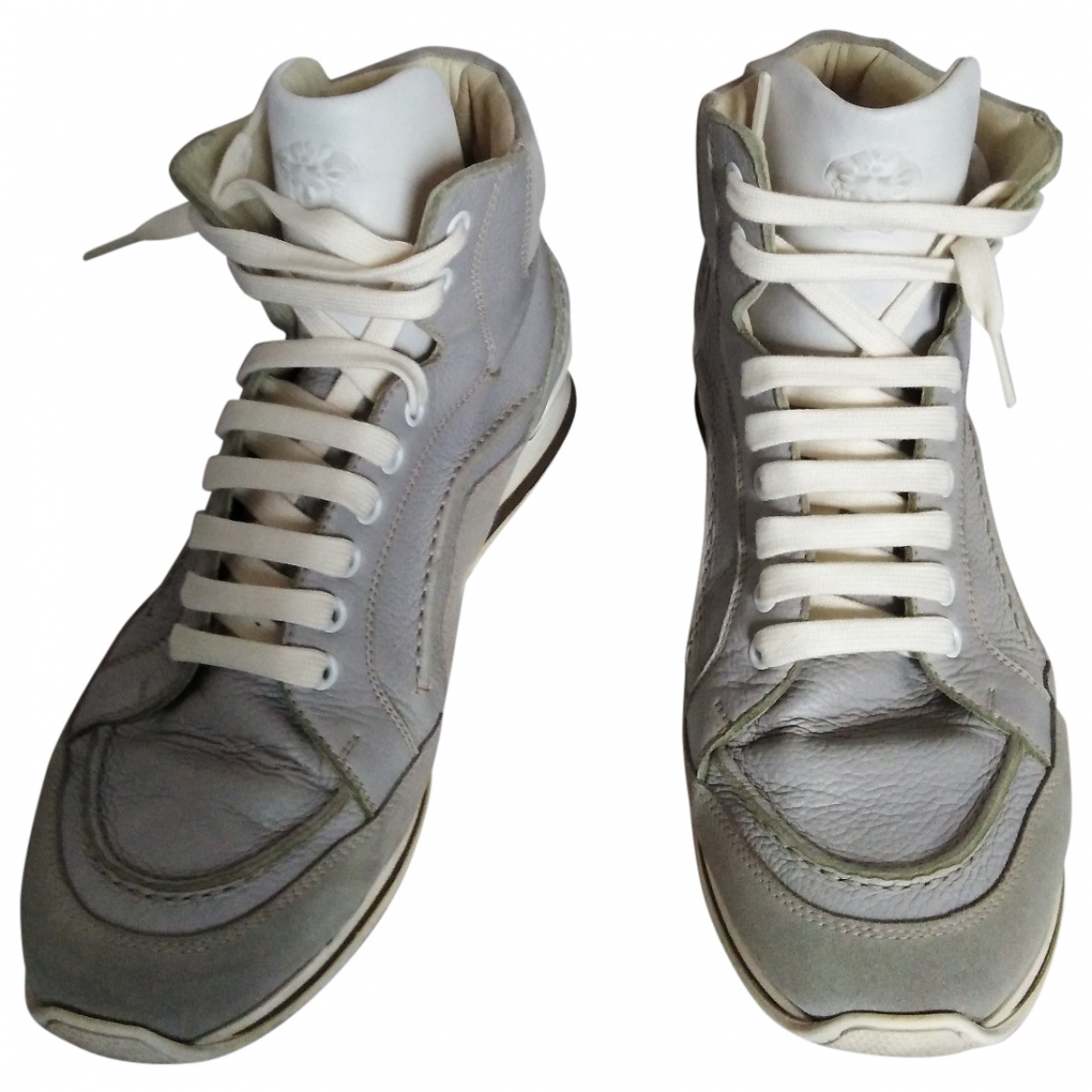 Versace \N Grey Leather Trainers for Men 43 EU