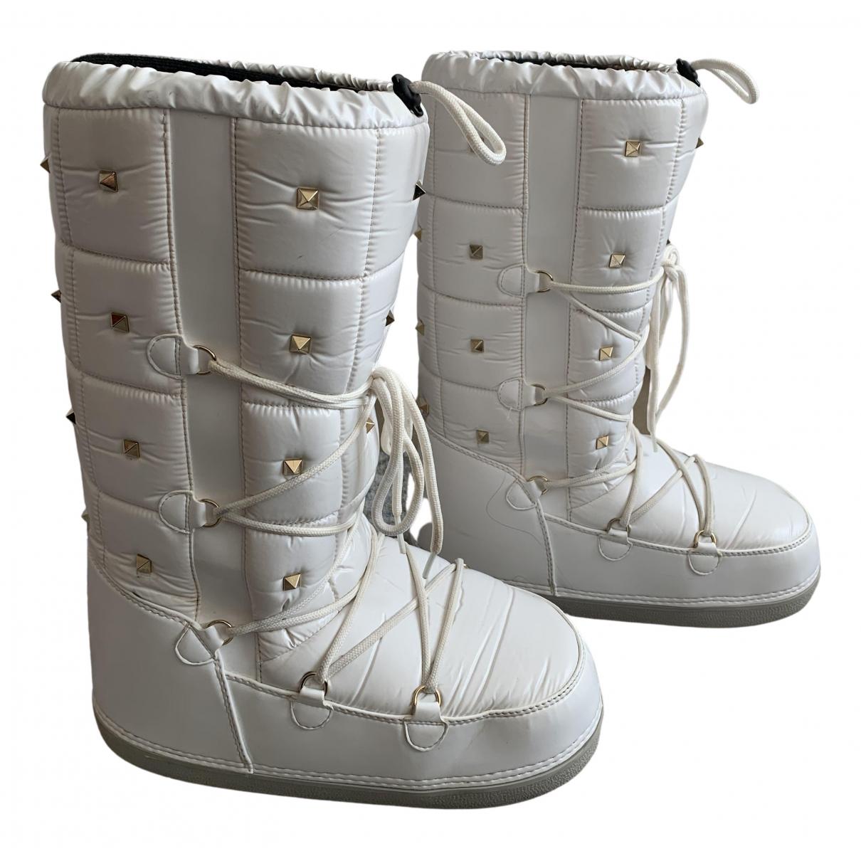 Valentino Garavani Rockstud White Boots for Women 41 EU