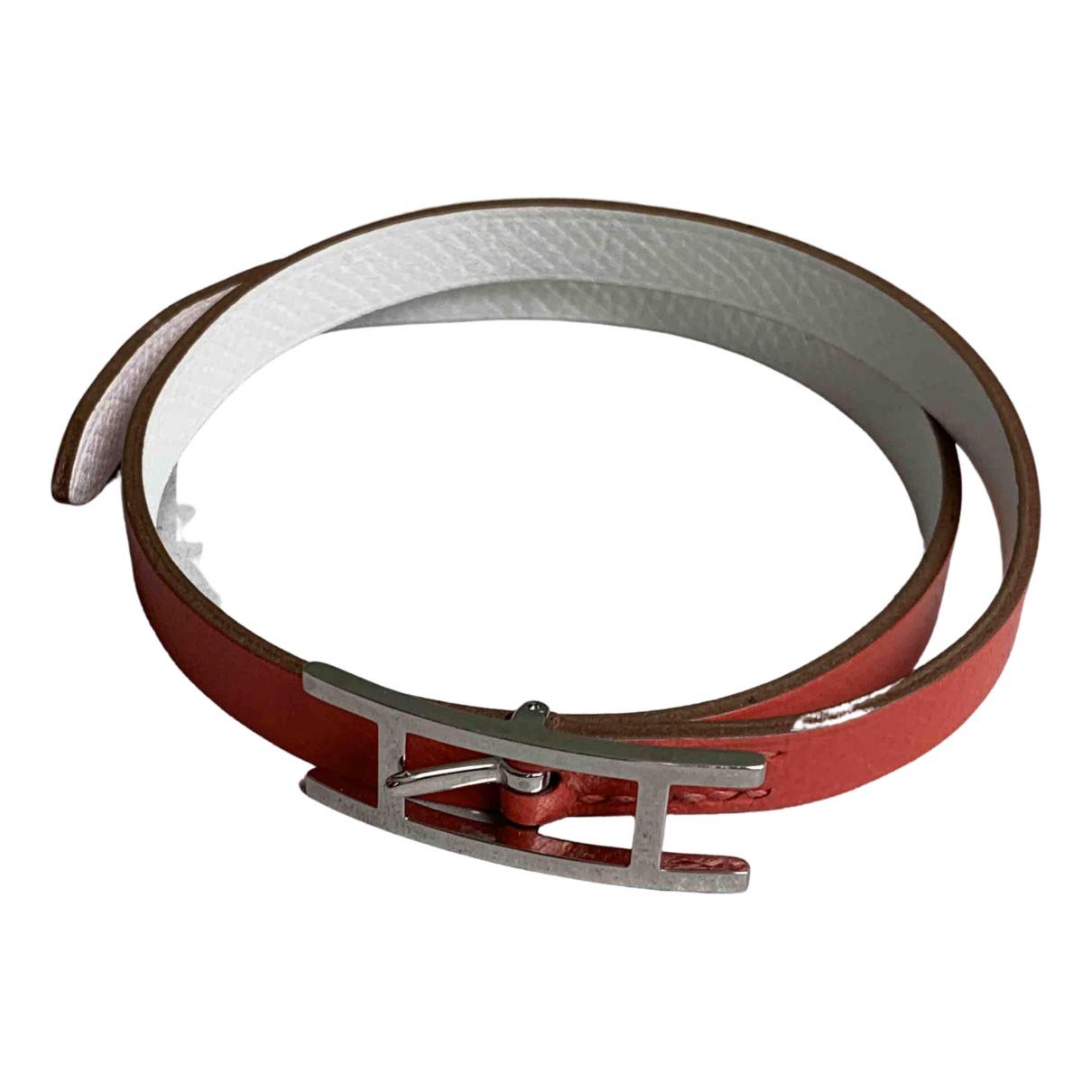 Hermes - Bracelet Behapi pour femme en cuir - rose