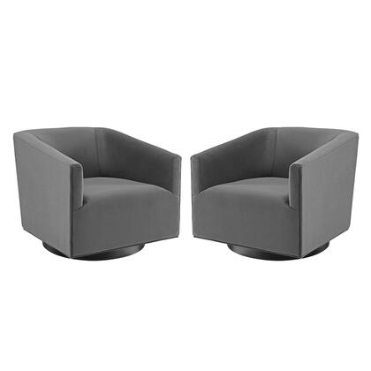 Twist Collection EEI-4427-GRY Swivel Chair Performance Velvet Set of 2 in Gray