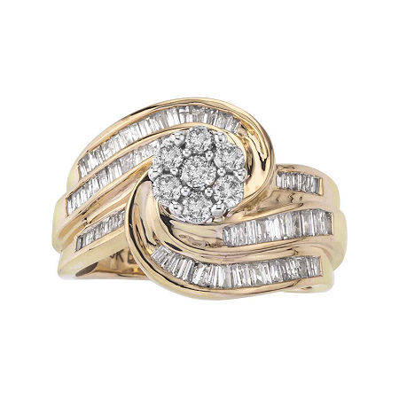 1 CT. T.W. Genuine Diamond 10K Gold Swirl Ring, 7 , No Color Family