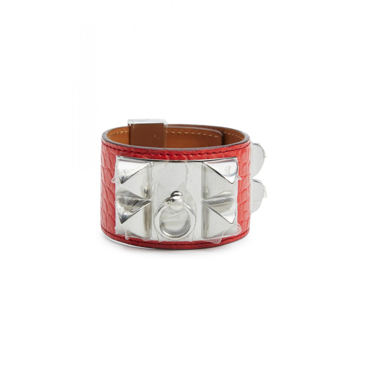 Hermès Collier de chien  Red Alligator bracelet for Women \N