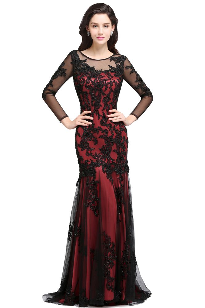 CAROLINE | Mermaid Jewel Neck Long Tulle Red Sexy Evening Dresses with Beading