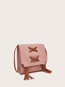 Tassel Decor Flap Crossbody Bag