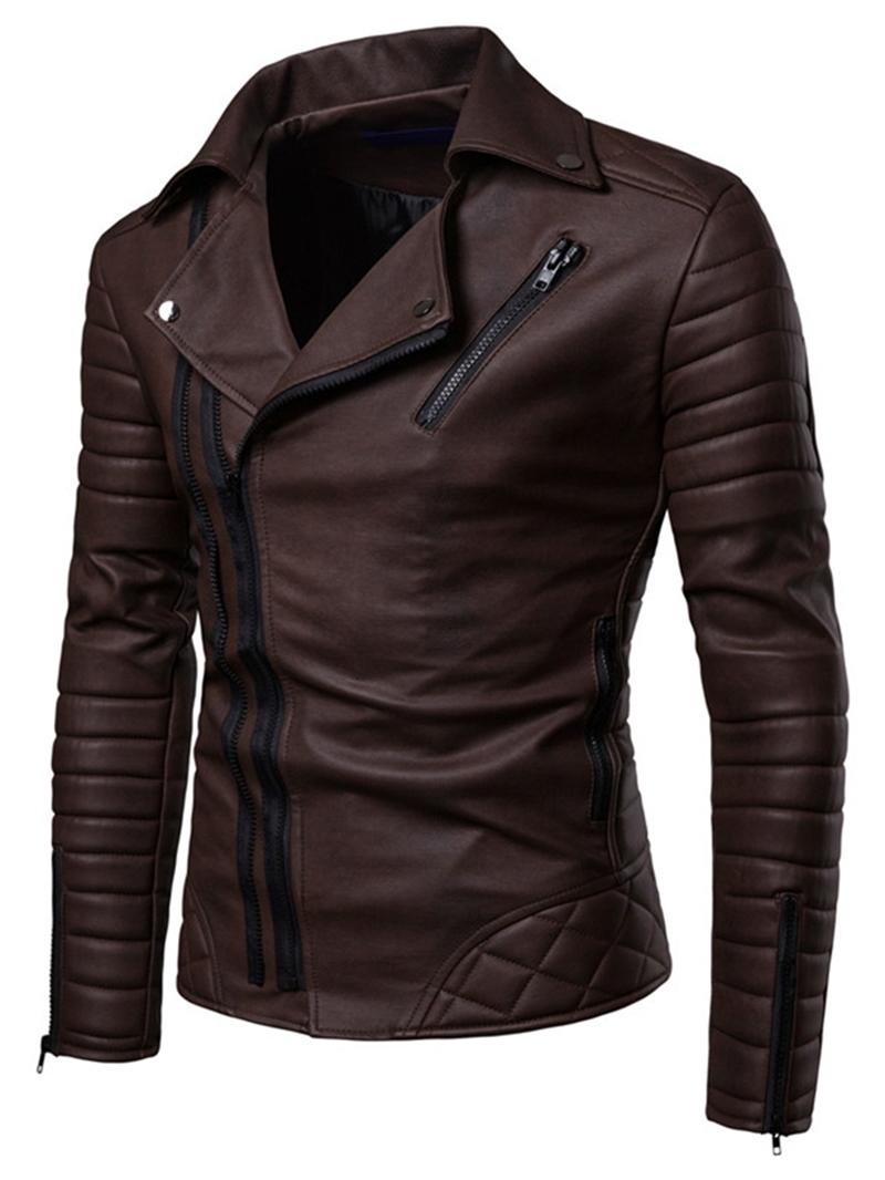 Ericdress Slim Lapel Plain Pleated Mens PU Jacket