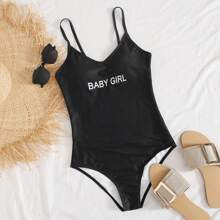 Letter Print Cami One Piece Swimsuit