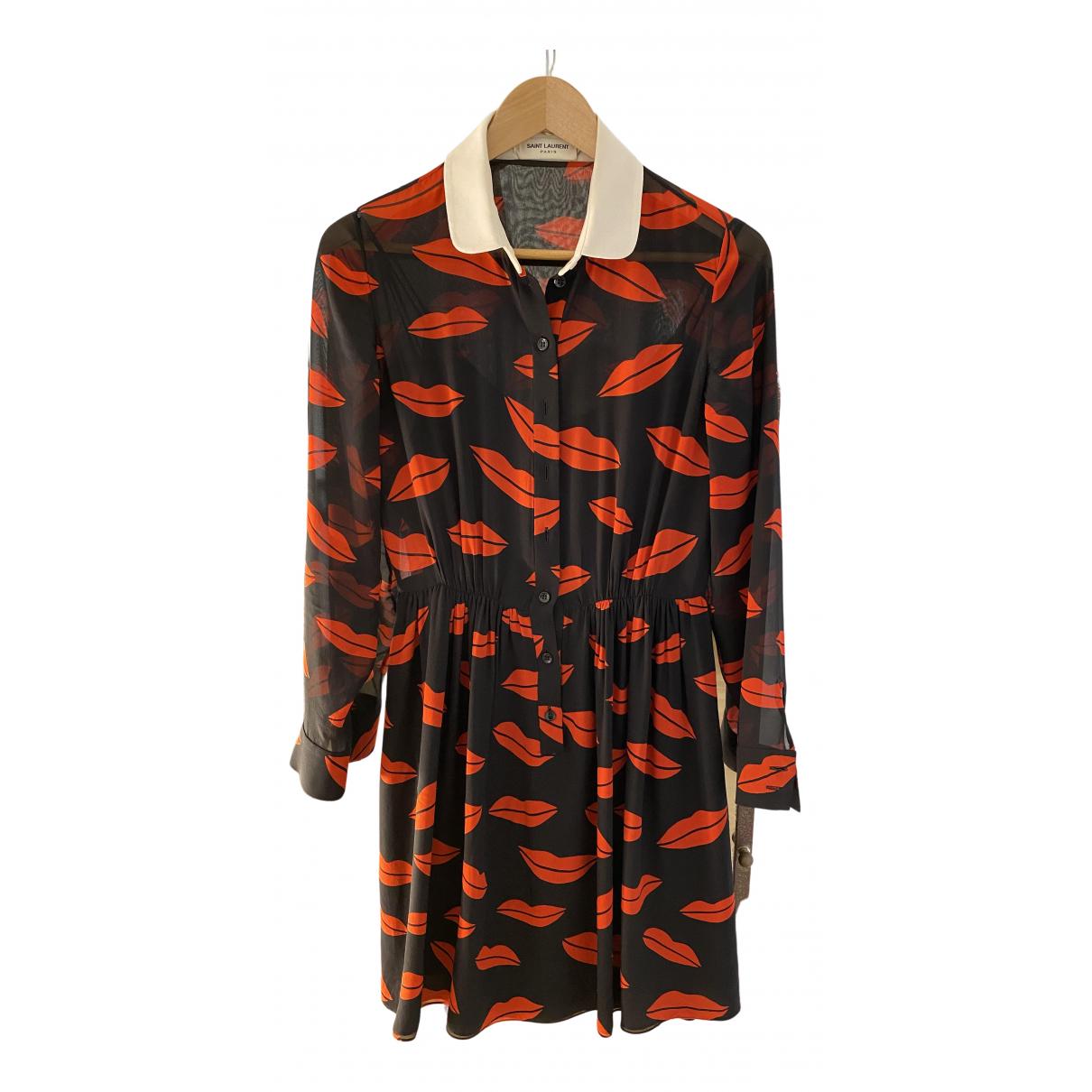 Saint Laurent - Robe   pour femme en soie - rouge