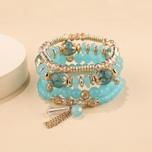 4pcs Metal Tassel Decor Beaded Bracelet