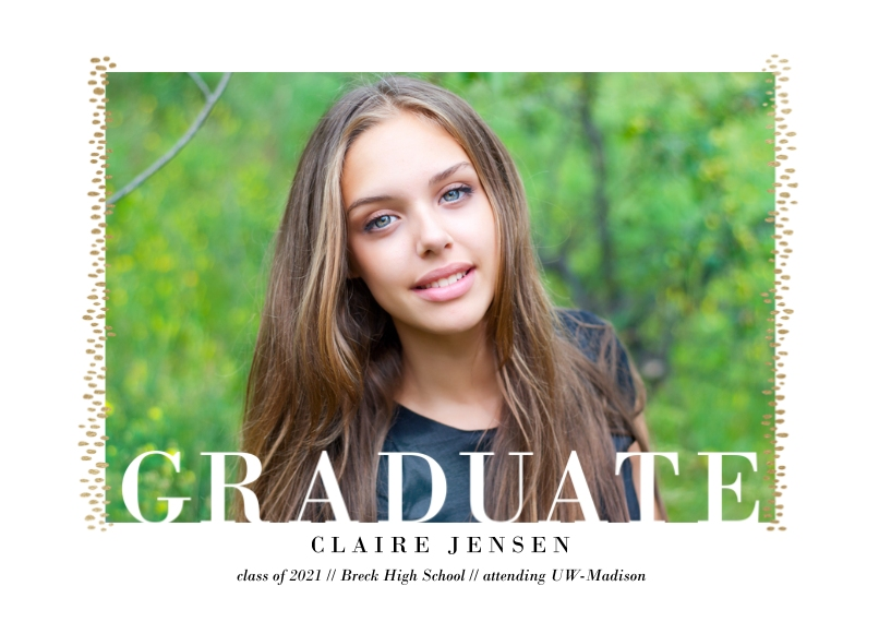 Graduation Announcements 5x7 Cards, Premium Cardstock 120lb with Rounded Corners, Card & Stationery -Framed