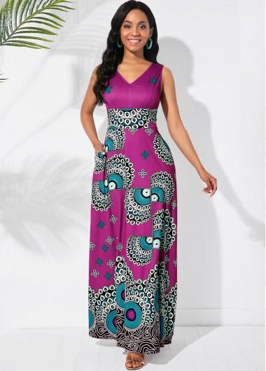 Cocktail Party Dress V Neck Sleeveless Tribal Print Maxi Dress - S