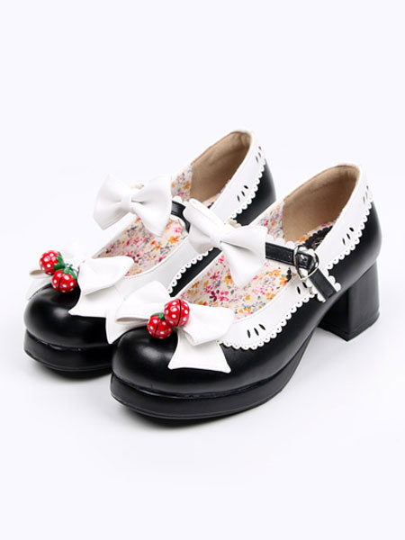 Milanoo Pink Lolita Shoes Strawberry Bow PU Shoes for Women