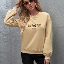 Pullover mit sehr tief angesetzter Schulterpartie und Buchstaben & Schmetterling Muster