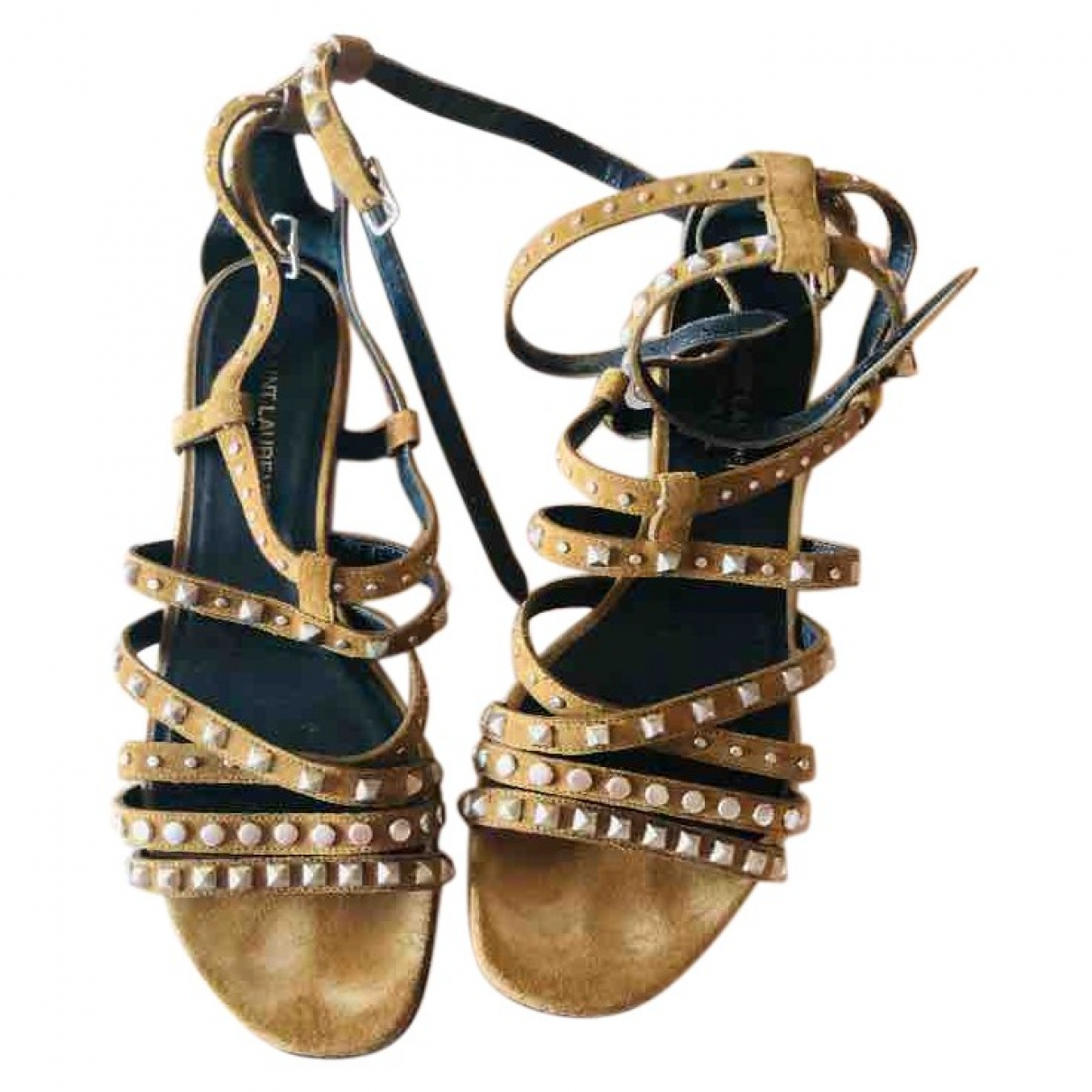 Saint Laurent \N Sandalen in  Kamel Veloursleder
