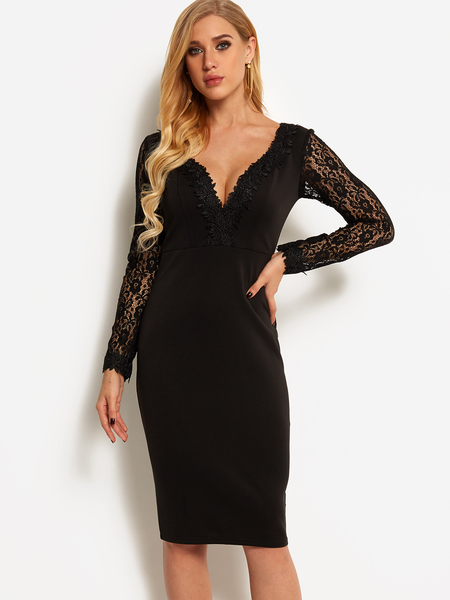 Yoins Black Lace Insert Deep V Neck Long Sleeves Dress