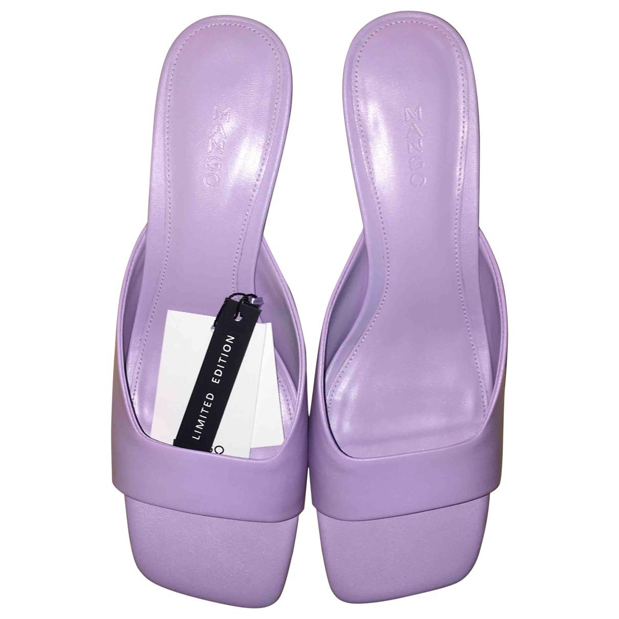 Mango - Sabots   pour femme en cuir - violet