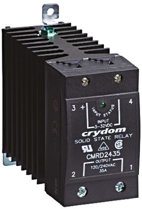 Sensata / Crydom 65 A SPST Solid State Relay, Instantaneous, DIN Rail, SCR, 530 V rms Maximum Load